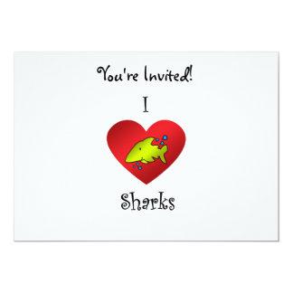 """Tiburones del corazón I en amarillo Invitación 5"""" X 7"""""""