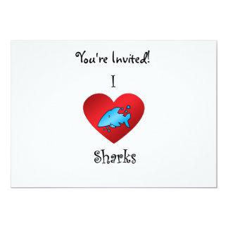 """Tiburones del corazón I en azul Invitación 5"""" X 7"""""""