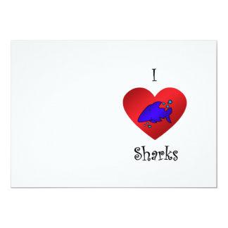 """Tiburones del corazón I en azul marino Invitación 5"""" X 7"""""""