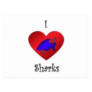 Tiburones del corazón I en azul marino Postal