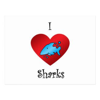 Tiburones del corazón I en azul Postales