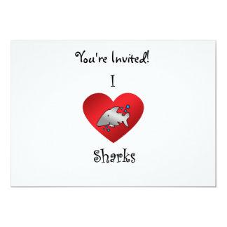 """Tiburones del corazón I en gris Invitación 5"""" X 7"""""""