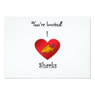 """Tiburones del corazón I en naranja Invitación 5"""" X 7"""""""