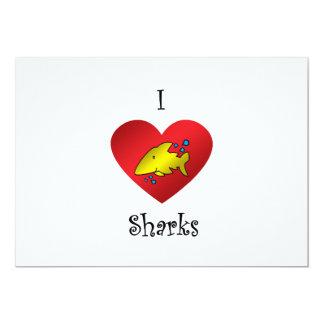 """Tiburones del corazón I en oro Invitación 5"""" X 7"""""""