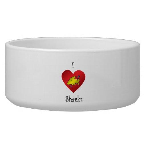 Tiburones del corazón I en oro Tazón Para Perro