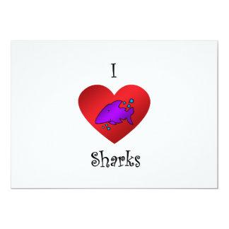 """Tiburones del corazón I en púrpura Invitación 5"""" X 7"""""""