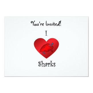 """Tiburones del corazón I en rojo Invitación 5"""" X 7"""""""