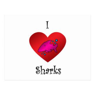 Tiburones del corazón I en rosa Postal