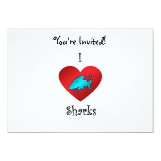 """Tiburones del corazón I en trullo Invitación 5"""" X 7"""""""