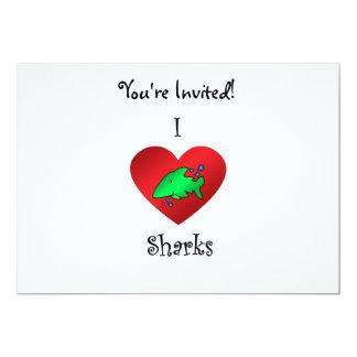 """Tiburones del corazón I en verde Invitación 5"""" X 7"""""""
