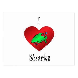 Tiburones del corazón I en verde Tarjeta Postal