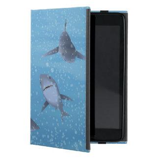 Tiburones en agua iPad mini cárcasas