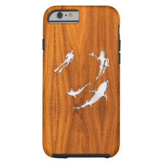 Tiburones náuticos del cromo en la impresión de funda de iPhone 6 tough