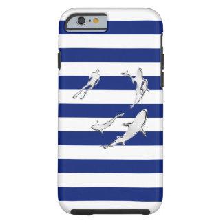 Tiburones náuticos del cromo en la impresión de funda para iPhone 6 tough