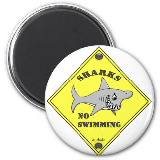 ¡Tiburones ninguna natación! Imán Redondo 5 Cm