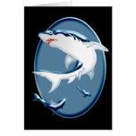 Tiburones subacuáticos amenazadores tarjeta de felicitación