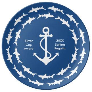 Tiburones y premio del ancla de la nave plato de cerámica