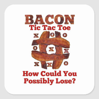 Tic Tac Bacon Square Stickers