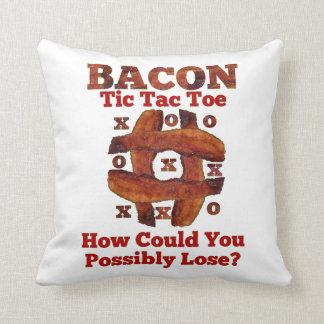 Tic Tac Bacon Throw Pillow
