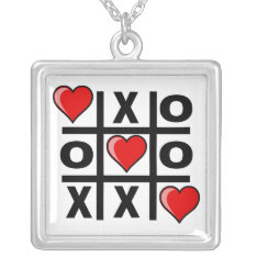 Tic Tac Love Silver Plated Necklace at Zazzle