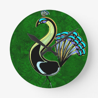 Tic Tac Mandala Peacock -´Green Round Clock