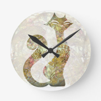 Tic Tac - Tatto Cat - Gold and Ivory Round Clock