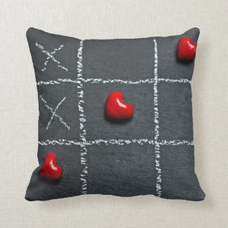 Tic-Tac-Toe with hearts decorative pillow