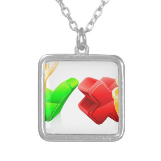 Tick and cross people square pendant necklace