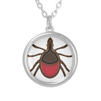 Tick insect round pendant necklace