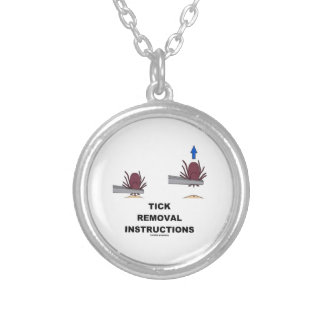 Tick Removal Instructions (Illustration) Round Pendant Necklace