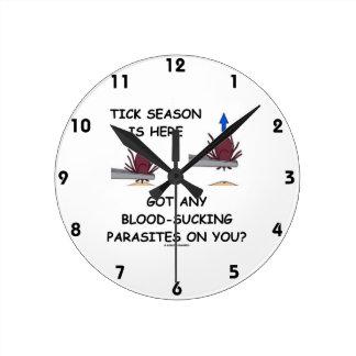 Tick-Season Is Here Got Blood-Sucking Parasites On Round Wall Clocks