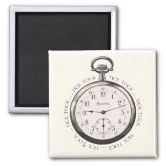 Tick Tock 2 Inch Square Magnet