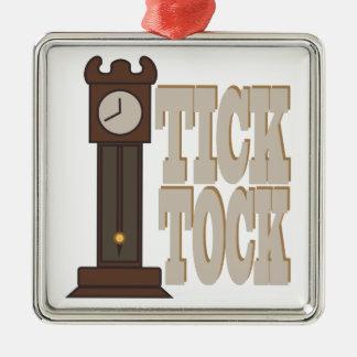 Tick Tock Clock Metal Ornament