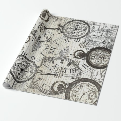 Tick Tock Furniture Decoupage Poster Wrapping Paper