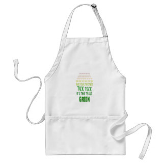 Tick Tock: It's Time to Go Green Adult Apron