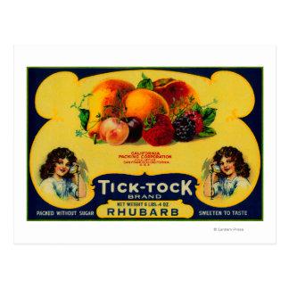 Tick Tock Rhubarb Label Postcard