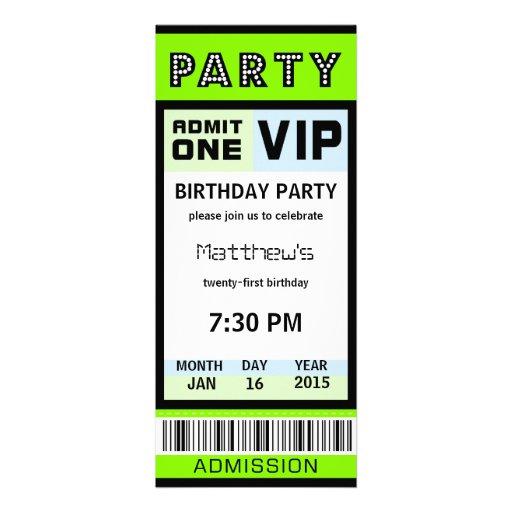 Ticket 21st Birthday Party Invitations Green
