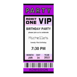 Ticket 21st Birthday Party Invitations Purple