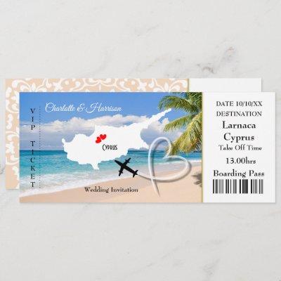 Ticket Boarding Pass Wedding Destination Cyprus Invitation