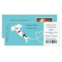 Ticket Boarding Pass Wedding Destination Italy Invitation