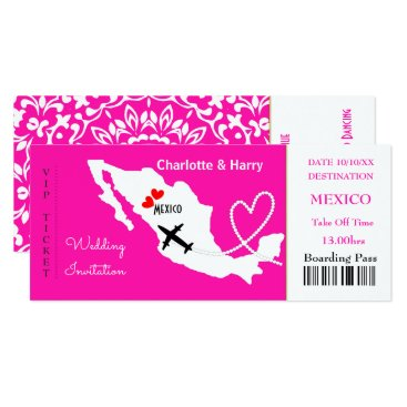 Beach Themed Ticket Boarding Pass Wedding Destination Mexico Card