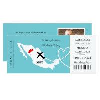 Ticket Boarding Pass Wedding Destination Mexico Invitation