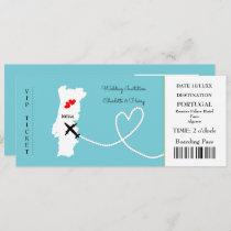 Ticket Boarding Pass Wedding Destination Portugal Invitation