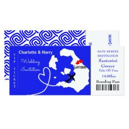 Ticket Boarding Pass Wedding Destination Santorini Card