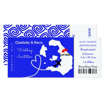 Beach Themed Ticket Boarding Pass Wedding Destination Santorini Card
