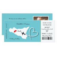 Ticket Boarding Pass Wedding Destination Sicily Invitation