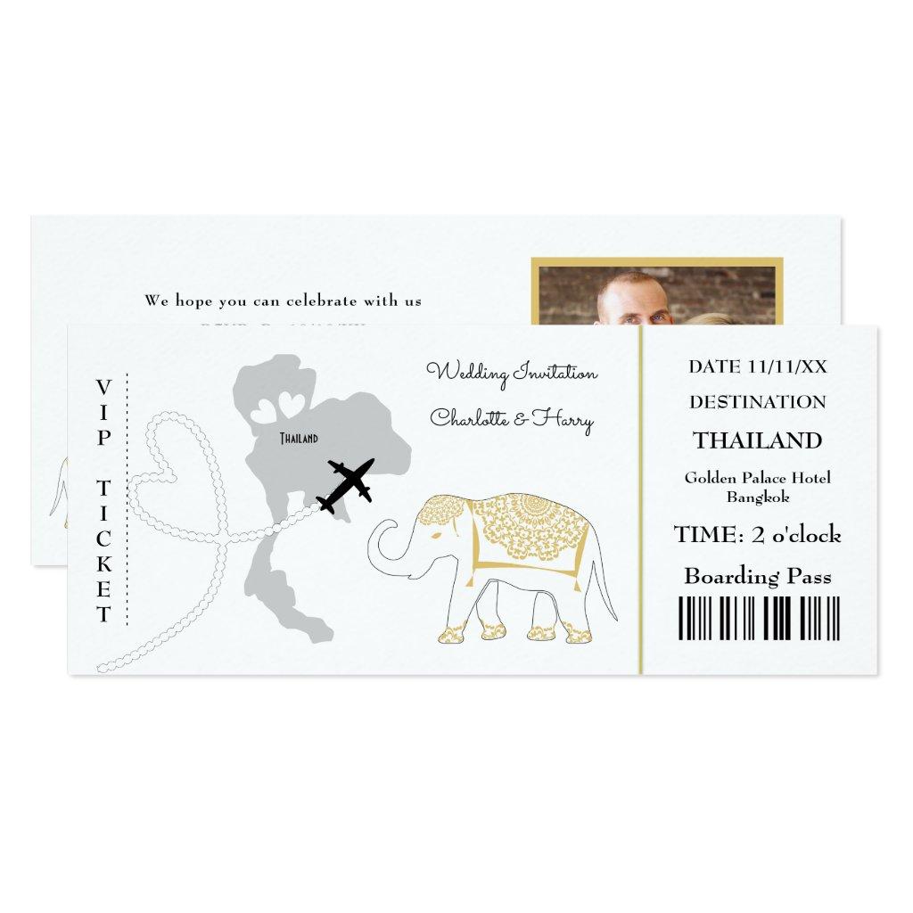 Ticket Boarding Pass Wedding Destination Thailand Invitation