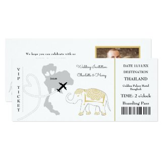 Ticket Boarding Pass Wedding Destination Thailand Invitation