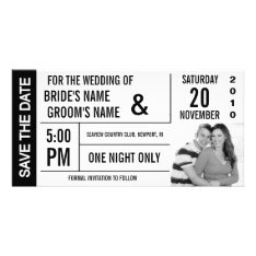 Ticket Design Save The Date Photo Card at Zazzle