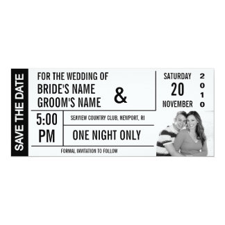 Ticket Design Save the Date Photo Cards Personalized Invites